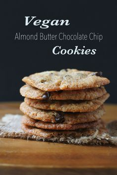 Vegan+Almond+Butter+Chocolate+Chip+Cookies,+thin,+crispy,+chewy+cookies+made+with+almond+butter+and+studded+with+slivered+almonds+and+dark+chocolate+chops!