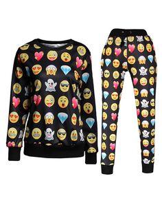 Emoji Printed Jogger Pants Black Sweater Sweatshirts Suits Men/Women