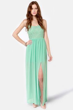 Check it out from Lulus.com! Let's take a count on how many dresses have a stunning, floor-length silhouette combined with a perfect pop of bronze sequins across the bodice... the Let's See-quin Mint Maxi Dress does!! Mint green chiffon gathers into a fitted bodice with adjustable spaghetti straps and a strip of elastic at back, while the floaty maxi skirt reveals a 28