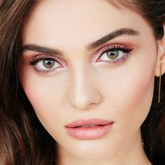 Easy, Day Makeup Look by Maybelline. Take on the day with dramatic rose gold eyeshadow, cat eyes & long, winged eyelashes using Falsies Push Up Angel Mascara.