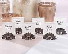 Antiqued Fan Place Card Holder Set of 6 Wedding Gift Reception Party Table Decor Wedding Reception Places, Reception Party, Reception Ideas, Wedding Table, Gold Bridal Showers, Bridal Shower Gifts, Bridal Gifts, Wedding Fans, Trendy Wedding