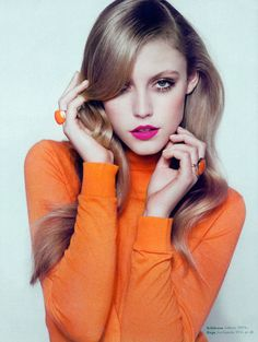 Lucia Jonova Wears Retro Florals for Elle Denmark's April 2013 Cover Shoot