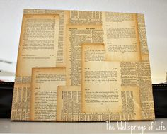 The Wellsprings of Life: Book Page Canvas {Tutorial}