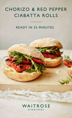 Crispy ciabatta rolls with sticky, smoky chorizo sausages, lemon aioli and peppery rocket. Perfect for summer barbecues and ready in 25 minutes. Tap for the Waitrose & Partners recipe. Healthy Eating Recipes, Healthy Cooking, Vegetarian Recipes, Pork Recipes, Lunch Recipes, Cooking Recipes, Waitrose Food, Sandwiches, Picnic