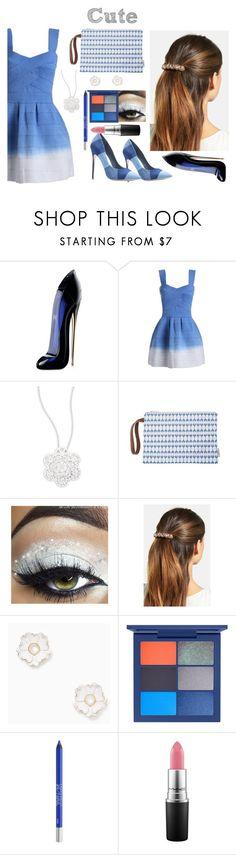 """Cute Blue  Set"" by samahdasan ❤ liked on Polyvore featuring Carolina Herrera, Swarovski, L. Erickson, Kate Spade, Urban Decay and MAC Cosmetics"