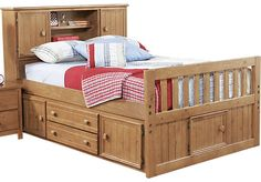 picture of Creekside Taffy 3 Pc Full Captain's Bookcase Bed  from Beds Furniture