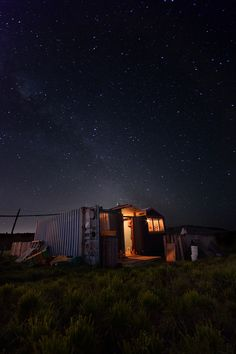 """""""Tiny Home"""" shot under the stars of New Zealand's sky. Star photography is so amazing!"""