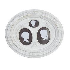 Ovaler Bilderrahmen SILHOUETTE für 3 Fotos antik weiß