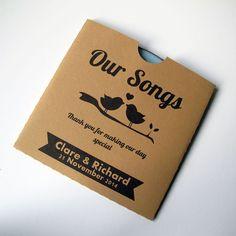 Wedding CD Favours, Kraft CD Sleeve, CD Cover, Customised - Brown Love Birds x 25 on Etsy, $41.99 AUD