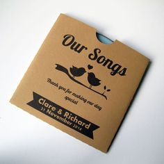 Wedding CD Favours, Kraft CD Sleeve, CD Cover, Customised - Brown Love Birds x 25 on Etsy, $41.99 AUD