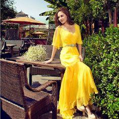 long Yellow New Summer Party Gown 2016 Chiffon Prom Dresses vestidos de fiesta dress for graduation