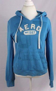 Aeropostale Womens Hooded Sweatshirt size Large Blue Long Sleeve Hoodie Cute #Aeropostale #HoodedSweatshirt