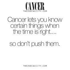Cancer Zodiac Sign♋ lets you know certain things when the time is right...so don't push them.