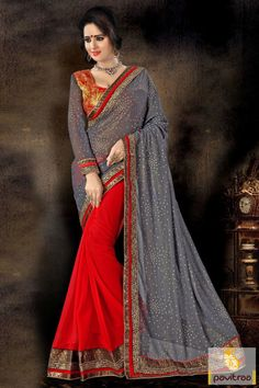Latest fashion trend grey red georgette chiffon designer saree online with discount price in surat India. Buy Diwali festival special wedding and party wear designer saree online at best price. Diwali Special Discount Offer:  5% OFF FOR Buy 1 Product 10% OFF FOR Buy 2 Product 15% OFF FOR Buy 3 Product or more #saree, #designersaree, #festivalsaree, #designercollection, #partywearsaree, #embroiderysaree http://www.pavitraa.in/store/embroidery-saree/ callus: +91-7698234040
