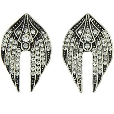 LUCLUC Black Rhinestones Wing-shape Earrings (11 BAM) ❤ liked on Polyvore featuring jewelry, earrings, lucluc, rhinestone jewelry, earring jewelry, earrings jewellery, wing earrings and rhinestone stud earrings