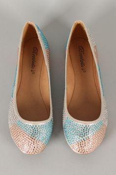 $24.50 Breckelle Juliet-04 Jeweled Round Toe Ballet Flat