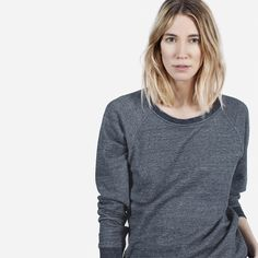 A modern and easy statement sweatshirt 100% Cotton French Terry Marled Colors: Fabric is a soft cotton marl with a slight drape Solid Colors: Fabric is a structured French Terry with a little bit of stretch Features raglan sleeves and topstitch seam detailing Machine wash cold, tumble dry low