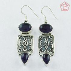 Christmas Bonanza 925 Sterling Silver Amethyst Stone Rajasthani Earrings E4084 #SilvexImagesIndiaPvtLtd #DropDangle