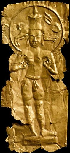 A gold seventh- to eighth-century South East Asian figure of 'Gandraprabha or Chandraprabha Lokesvara is a form of the supreme Buddhist saviour, the bodhisattva Avalokitesvara. In this rare form he is shown as a personification of the moon or Chandra, whose symbol of the hare is shown in his nimbus.' (Victoria & Albert Museum)
