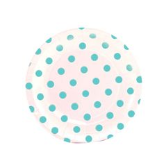 White and Baby Blue Polka Dot Dessert Paper Plates. Cute for a boy baby shower!