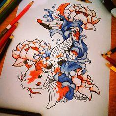 🐠🌺 #disegno #drawing #CarpaKoi ❤❤ #Oriente