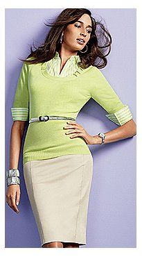 Pleat-Neck Sweater, Madison Stretch Shirt and 7th Avenue Pencil Skirt - New York & Company