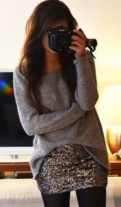 Oversized Sweater With Sequins Skirt and Leggings This will look cute for a more casual New Years outfit! I will be traveling on new years, i think this will be my outfit! Fashion Mode, Look Fashion, Street Fashion, Skirt Fashion, Fashion Beauty, Fashion Outfits, Looks Chic, Looks Style, Fall Winter Outfits