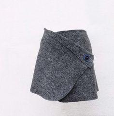 Wrap Skirts – Cacheur Wickelrock Walkwolle Rock grau – a unique product by KalyanaMitra on DaWanda