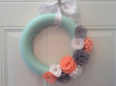 Modern Spring Wreath Mint Coral Grey and White by AnitaRexDesigns