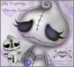 Frightlings Charms Dorothy Spookling Voodoo Doll Tattoo, Voodoo Dolls, Gothic Poems, Creepy Art, Scary, Gothic Fantasy Art, Pomes, Cute Cartoon Characters, Sketching Tips