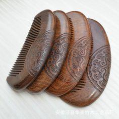 1 pcs cura della salute naturale legno di sandalo verde pettine antistatico barba pettine corno di bue pettine della spazzola di capelli spazzola per capelli uomo donna