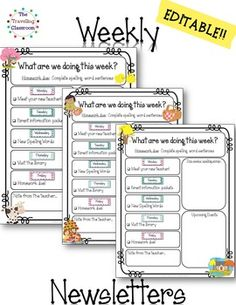 This set of classroom newsletters are completely EDITABLE and include a newsletter template for every month, over 600+ templates to choose from! Each month includes a monthly classroom newsletter with 5 different options as well as 15 different weekly and thematic classroom newsletters