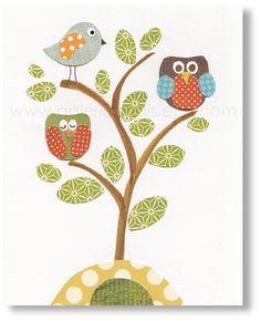 Nursery art prints, baby nursery decor, nursery wall art, kids art, nursery owl nursery tree, woodland, Serenity 8x10 print. $14.00, via Etsy.