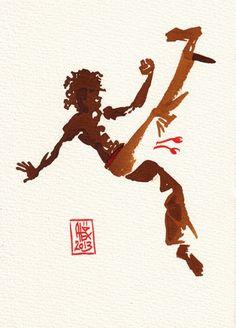 Encres : Capoeira – 379 [ #capoeira #watercolor #illustration]