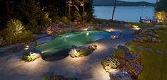 Pool At Night Swimming Pool Belknap Landscape Co. Pool At Night, Night Swimming, Swimming Pool Pictures, Cool Swimming Pools, Pool Landscaping Plants, Backyard Pools, Landscaping Ideas, Landscape Lighting Design, Landscape Designs