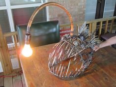 Anglerfish Lamp by JPlaiaSteelArt. Checkout JPlaiaSteelArt on Facebook