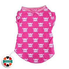 Cute Pet Dog Cat Sweater Puppy T Shirt Small Dog Clothes Apparel Vest for Small Dogs Rose Red Skull S *** You can find more details by visiting the image link.