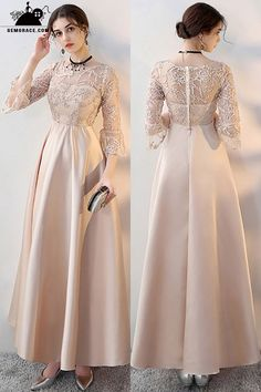 Evening Dresses Retro Champagne Aline Long Formal Dress with Sleeves - Trendy Dresses Graduation Dresses Long, Long Sleeve Homecoming Dresses, Formal Dresses With Sleeves, Gold Prom Dresses, Cheap Evening Dresses, Trendy Dresses, Sleeve Dresses, Long Dresses, Dress Formal