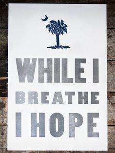 Hope Letterpress Print | South Carolina Gifts