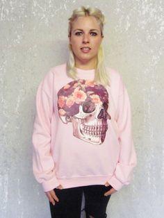 Floral Skull Pullover süße Rosen HeadSpace von TheGrungeMonkey