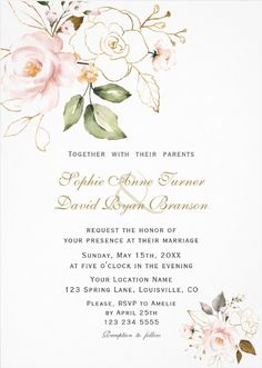 Shop Delicate Blush Gold Flowers Monogram Wedding Invitation created by Personalize it with photos & text or purchase as is! Wedding Invitation Video, Monogram Wedding Invitations, Custom Invitations, Invites, Bride Quotes, Wedding Decorations, Wedding Ideas, Blush And Gold, Flower Frame