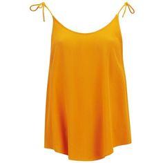 Samsoe & Samsoe Women's Syon Top - Marigold (1.090 UYU) ❤ liked on Polyvore featuring tops, shirts, orange, tank tops, tanks, rayon shirts, drape shirt, scoopneck tank, lightweight shirts and scoop neck tank top
