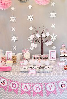 Cozy Pink Penguin Winter Wonderland Baby Shower: The backdrop