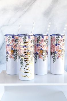 We are loving these new skinny tumblers! Personalized or not, these beauties make such a good gift idea for her! Whether you're looking for a gift for your mom, a gift for your bestie, a teacher gift idea or a teen gift idea - she'll love this personalized tumbler!Details: Each stainless steel tumbler holds 20 ounces Clear plastic lid included Clear reusable straw included Personalization (if wanted) is included in the price Personalization: Professional grade vinyl Care: hand wash only…