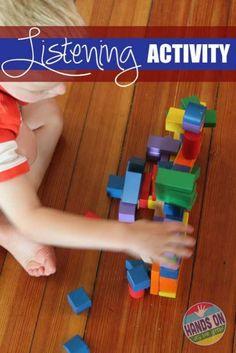Listening to directions of how to stack a tower of blocks make this a listening activity kids will love to do because they already know the answers, as long as they listen.