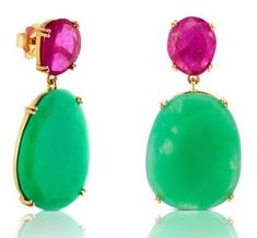 Queen Letizia TOUS 18kt yellow gold, ruby and chrysoprase earrings