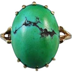 Vintage mid century 14k gold organic green turquoise in matrix cabochon ring / size 6-1/4 / signed Collison Brothers, Inc. Jewelers