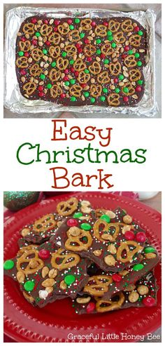 See how to make this Easy Christmas Bark to enjoy or give as a gift! This Easy Christmas Bark recipe is incredibly simple to put together and makes a great holiday treat or gift to give to any neighbor or friend! Christmas Bark, Christmas Party Food, Holiday Snacks, Christmas Cooking, Holiday Recipes, Christmas Deserts Easy, Easy Christmas Candy Recipes, Christmas Christmas, Easy Holiday Desserts