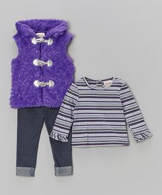 Take a look at this Little Lass Purple Sequin Faux Fur Vest Set - Infant & Toddler on zulily today!