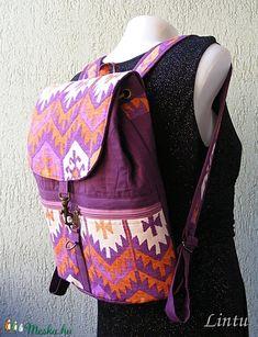 Textil hátizsák népi mintázatú anyagból (Lintu) - Meska.hu Textiles, Fashion Backpack, Backpacks, Bags, Backpack, Handbags, Fabrics, Backpacker, Bag
